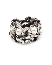 Uno De 50 - Metallic Pearl And Bead Layered Bracelet - Lyst