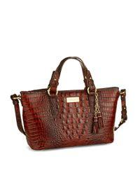 Brahmin - Red Mini Asher Embossed Leather Satchel Bag - Lyst