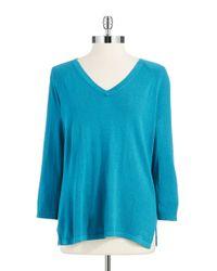 Jones New York | Blue V Neck Sweater | Lyst