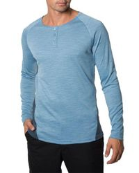 7 Diamonds - Blue Norva Two-tone Cotton Henley Tee for Men - Lyst