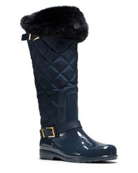 MICHAEL Michael Kors | Blue Fulton Faux Fur-lined Quilted Rainboots | Lyst
