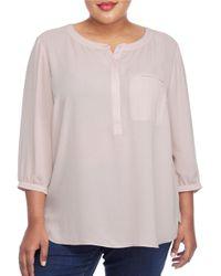 NYDJ | Pink Plus Three-quarter-sleeve Printed Blouse | Lyst