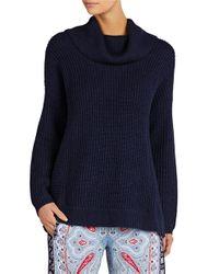 BCBGMAXAZRIA | Blue Sandrah Oversized Cowlneck Sweater | Lyst