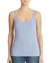 Lord & Taylor | Gray Petite Iconic Fit Slimming Scoopneck Tank | Lyst