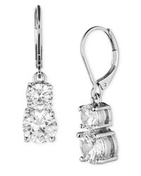 Anne Klein | Metallic Silvertone Glitz Drop Earrings | Lyst