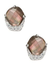 Nadri | Metallic Black Mother-of-pearl And Sterling Silver Abstract Stud Earrings | Lyst