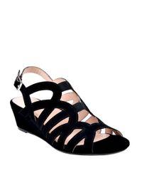 Taryn Rose | Black Shel Suede Wedge Sandals | Lyst