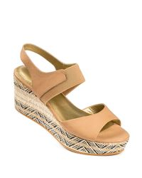 Me Too | Brown Leather Open-toe Platform Wedge Sandals | Lyst