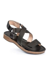 Me Too | Black Adora Leather Strappy Sandals | Lyst