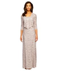 Alex Evenings | Metallic Plus Lace Gown And Jacket Set | Lyst