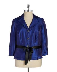 Adrianna Papell - Blue Shimmery Belted Blazer - Lyst