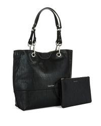Calvin Klein | Black Saffiano Leather Satchel Bag | Lyst