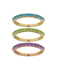 Lord & Taylor | Multicolor Semi-precious, Multi-stone Stacking Ring Set | Lyst