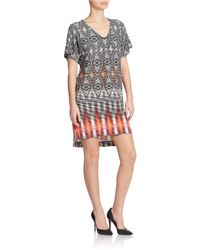 Maggy London | Natural Printed V-neck Shift Dress | Lyst