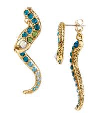 Betsey Johnson - Blue Ocean Drive Pave Crystal Snake Front And Back Linear Earrings - Lyst