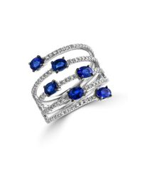 Effy | Blue Royale Bleu Sapphire, Diamond And 14k White Gold Spiral Ring | Lyst