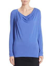 Lord & Taylor - Blue Iconic Fit Draped Neck Blouse - Lyst