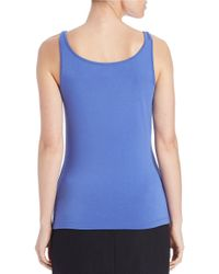 Lord & Taylor - Blue Stretch Roundneck Tank - Lyst