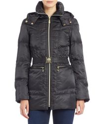 Vince Camuto | Black Faux Fur-collared Belted Coat | Lyst