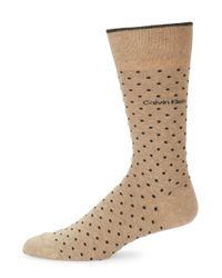 Calvin Klein | Natural Pin Dot Crew Socks | Lyst