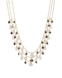 Anne Klein | Metallic Shaky Jet Circle Drop Three-strand Necklace | Lyst