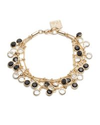 Anne Klein - Black And White Dangling Stone Bracelet - Lyst