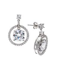 Lord & Taylor | Metallic White Quartz And Diamond Accented Earrings In Sterling Silver With 14k Rose Gold | Lyst