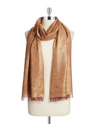Lord & Taylor | Brown Metallic Paisley-print Fringed Scarf | Lyst