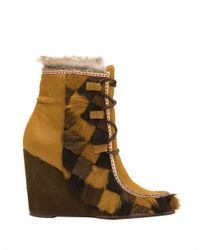 Frye | Brown Parker Calf Hair And Rabbit Fur-lined Ankle Boots | Lyst