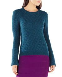 BCBGMAXAZRIA | Green Caleigh Cable-knit Sweater | Lyst