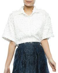 Nikki Chasin | White Frayed Cotton Shirt | Lyst