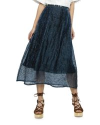 Nikki Chasin | Blue Puzzle-patterned Silk Skirt | Lyst