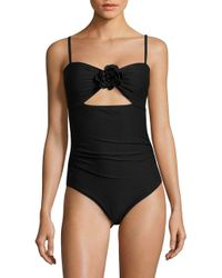 Kate Spade - Black 3d-rose Peep Hole One-piece Swimsuit - Lyst