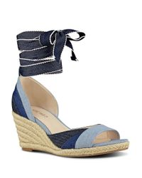 Nine West | Blue Jaxel Woven Espadrille Wedge Sandals | Lyst