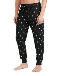 Polo Ralph Lauren   Black Pony-print Cotton Jogger Pants for Men   Lyst