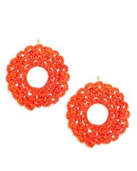 Panacea   Red Crochet Circle Drop Earrings   Lyst