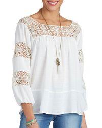 Democracy - White Three-quarter Sleeve Crochet Top - Lyst