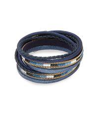 Lord & Taylor - Blue Multi-row Beaded Bracelet - Lyst