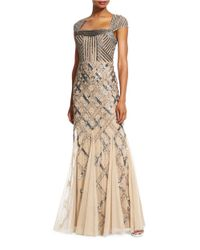 Adrianna Papell | Natural Sequined Cap-sleeve Gown | Lyst
