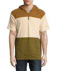 Reason - Natural Mineola Striped Short Sleeve Hoodie for Men - Lyst