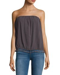Lamade   Gray Strapless Tassel-accented Top   Lyst