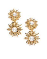 Oscar de la Renta - White Faux Pearl Sunburst Double Drop Clip-on Earrings - Lyst