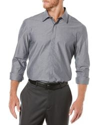 Perry Ellis | Gray Solid Cotton Sportshirt for Men | Lyst