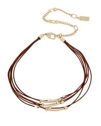 Kenneth Cole - Metallic Beaded Leather Multi-row Choker Necklace - Lyst