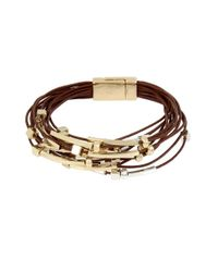 Kenneth Cole | Brown Mixed Beaded Multi Row Leather Bracelet | Lyst