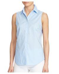 Lauren by Ralph Lauren | Blue Sleeveless Button-front Blouse | Lyst
