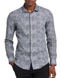 Calvin Klein | Black Slim-fit Abstract Print Sportshirt for Men | Lyst