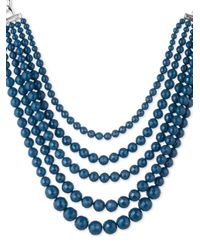 Anne Klein | Metallic Torsade And Bar Frontal Necklace | Lyst