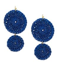 Lord & Taylor - Blue Crochet Double Drop Earrings - Lyst