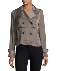 Ellen Tracy | Gray Soft Cropped Trench Coat | Lyst